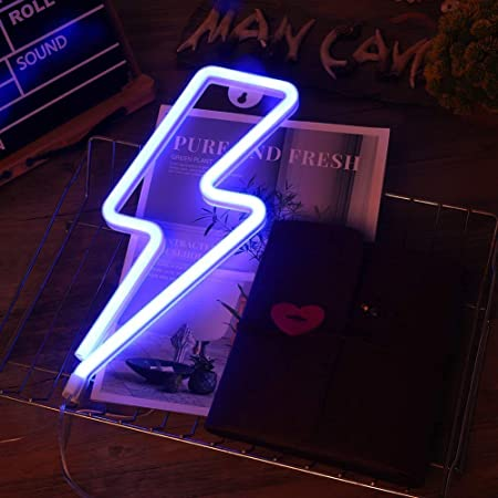 Lightning Bolt Neonschilder, LED Lightning Neon Sign, Lightning Bolt Wall Neonschild, batterie- oder USB-betriebenes Neonschild, Lightning Bolt Neonlichter für Schlafzimmer, Weihnachten (Blue)