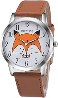 Cute Girls Cartoon Fox Watch, Ladies Slim Leather Strap Wrist Watches for Party Gifts