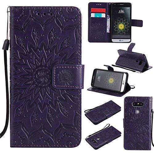 kelman Cáscara para LG G5 (5.3') Funda Cáscara 3D Girasol Moda PU Cuero+Suave Silicona TPU Billetera Tapa del tirón Cáscara - [Púrpura]