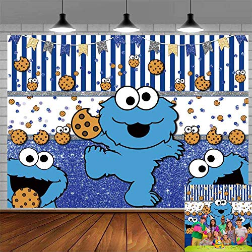 Cookie Monster Backdrop for Kids Birthday Party Decoration Photo Background Children Baby Shower Sesame Street Cookie Monster Photography Backdrop Decor Supplies Banner 7x5Ft