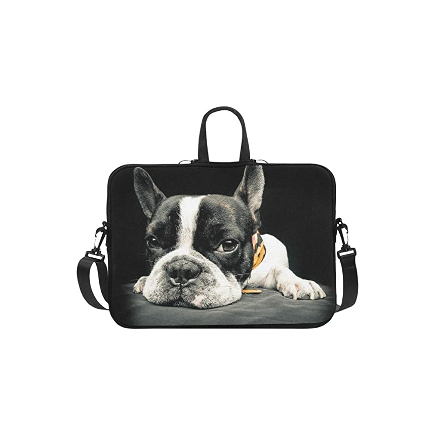 InterestPrint Black French Bulldog Shoulder Strap Computer Bag, Funny Cute Dog Neoprene Laptop Sleeve Case Cover for 15.6 Inch for MacBook Pro Air Dell HP Lenovo Thinkpad Acer Ultrabook