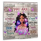 African American Woman Shower Curtains Rustic Background Black Queen Girl Motivational Quotes Shower Curtains Waterproof Polyester Fabric Afro African Bathroom Curtain with Hooks for Bathroom Decor