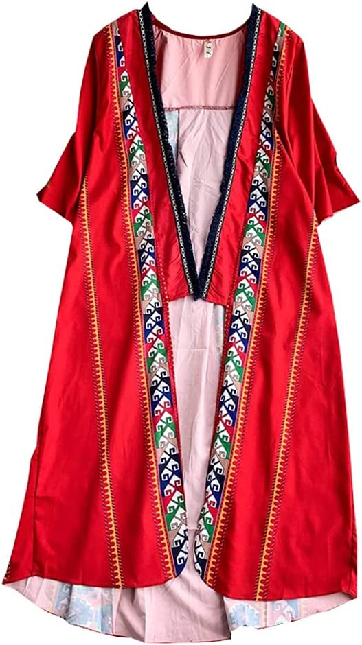 GDSSX Seaside Holiday Beach Sunscreen Ethnic Embroidery Cardigan Thin Shawl Air-conditioning Shirt Coverup Swimwear (Color : Red)
