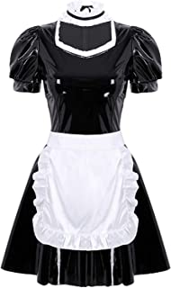 Yeahdor Women's Wet Look PVC Leather French Maid Fancy Dress Costume Maidservant Apron Role Play Cosplay Uniform