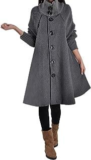 Women's Woolen Coat Cloak sweater Coat Long Loose Plus Siz Button Jacket