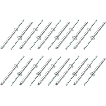 uxcell 100 Pcs 6mm x 2.4mm Aluminum//Steel Open Type Blind Rivets
