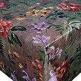 DecoHomeTextil Heimtextilmanufaktur Wachstuch Wachstischdecke Tischdecke Jutesack Waldblume Breite & Länge wählbar 120 x 250 cm Eckig abwaschbar