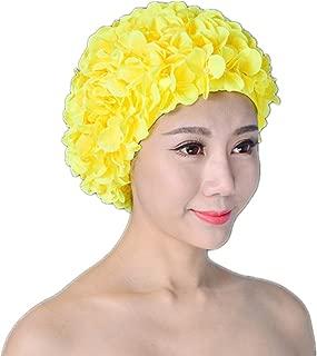 TINKSKY Floral Swim Cap Hat Bathing Swimming Shower Caps Petal Stylish (Yellow)