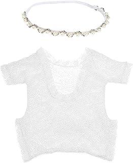 YeahiBaby yeahibaby Newborn Fotografie Requisiten, Infant Foto Outfits weiß Strampler und Silber Halskette