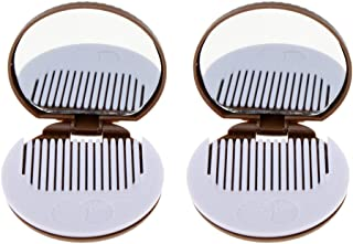Blesiya 2PCS POCKET HANDBAG MAKEUP COSMETIC MIRROR With COMB TRAVEL FOLDING FOLDABLE - Brown