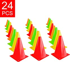 """Super Z Outlet 7.5"""" Bright Neon Colored Orange, Yellow, Red, Green Cones Sports Equipment for Fitness Training, Traffic Safety Practice (24 Pack)"""