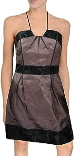 Jill Stuart Colorblock Halter Cocktail Dress, 2, Pink Black Mesh Overlay