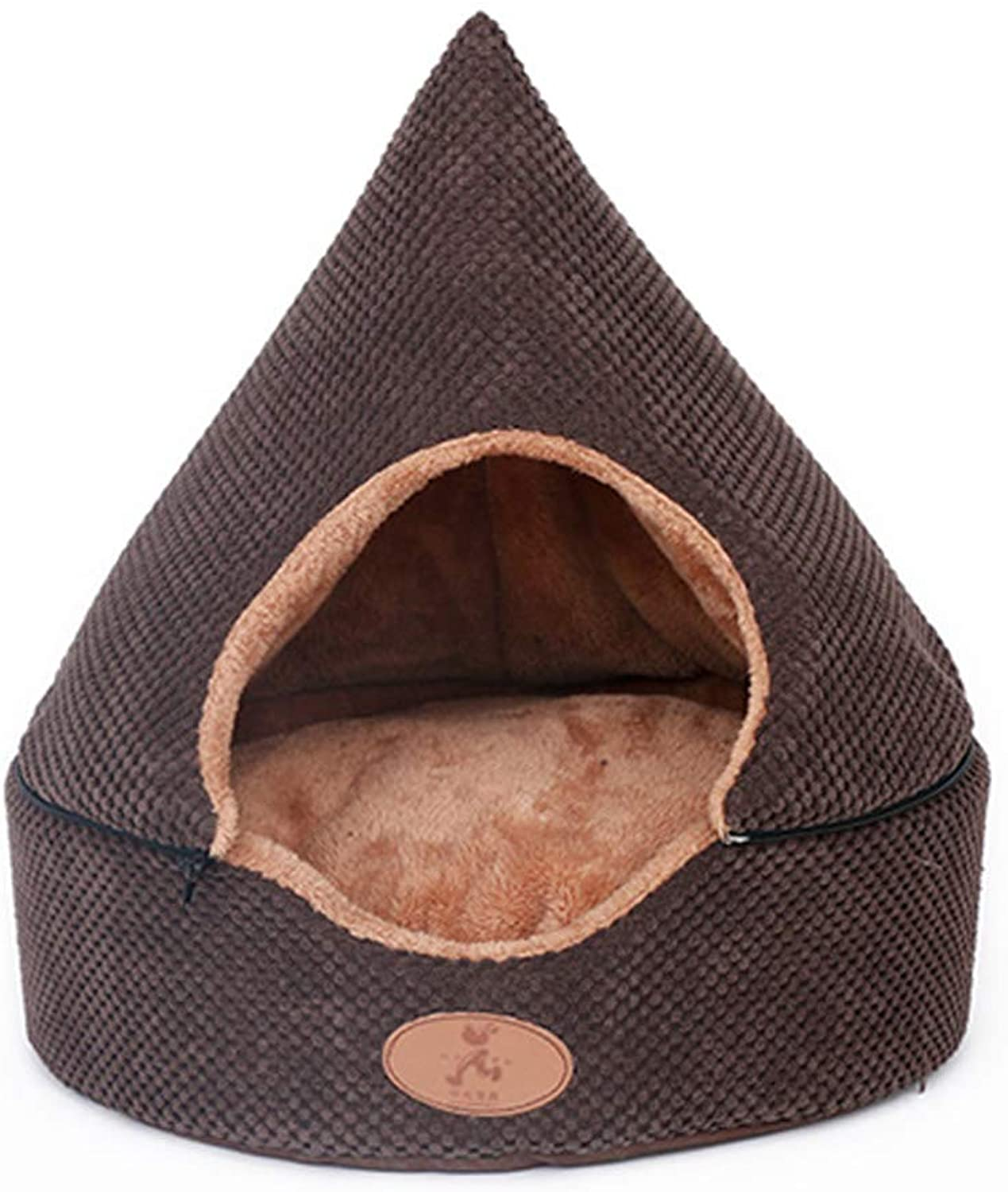 Pet Bed Tent House, 2in 1 Cat Bed House Self Warming Dog Cat Kitten Triangle Puppy Cave Basket with Removable Cushion (color   Coffee, Size   S)