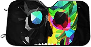 Car Windshield Cover, Cool Diamond Colorful Skull Black Front Window Cover, Winter Summer Car Sun Shade for Most Sedans SUV Truck, Snow Protection Cover Keeps Vehicle Cool