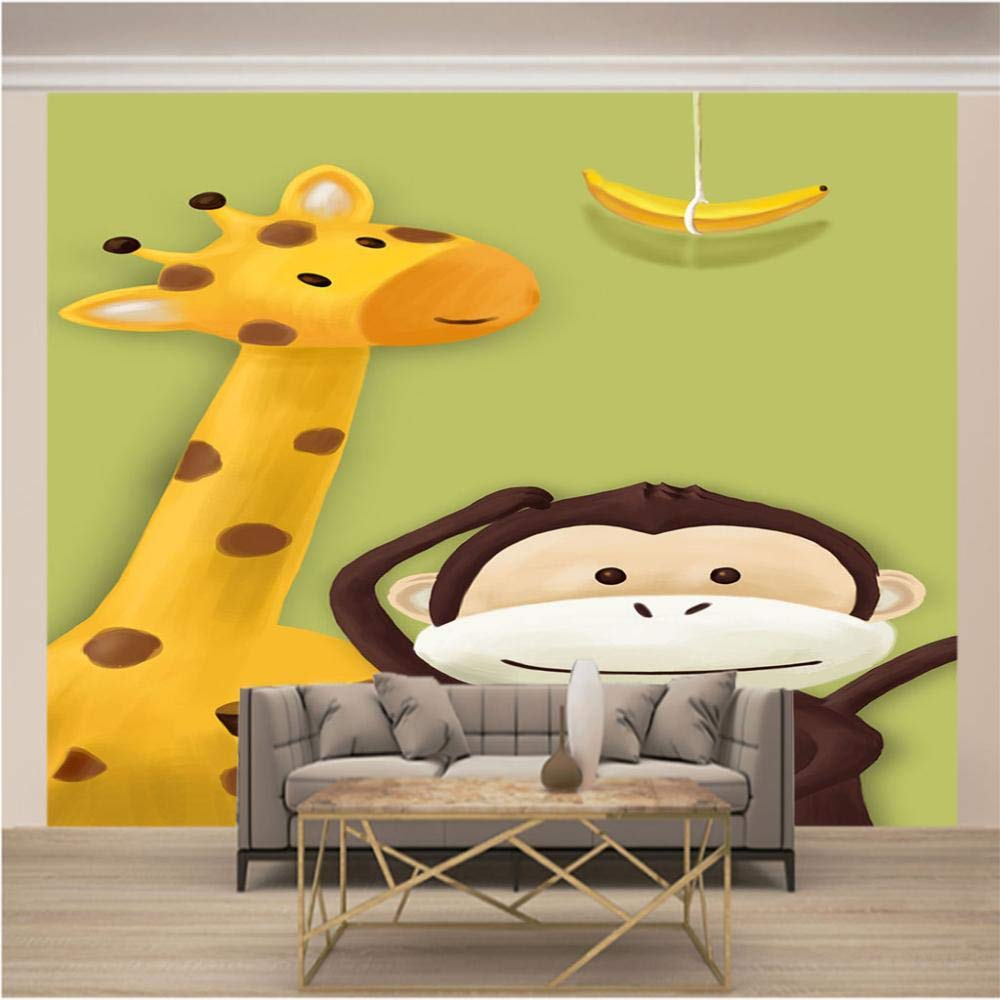 Amazon Co Jp 3d壁紙ポスター キリンと漫画猿 カスタム大規模な壁紙の壁紙3dテレビの背景リビングルームの写真の壁紙3dルームの壁紙 400x280cm 157x110inch ホーム キッチン