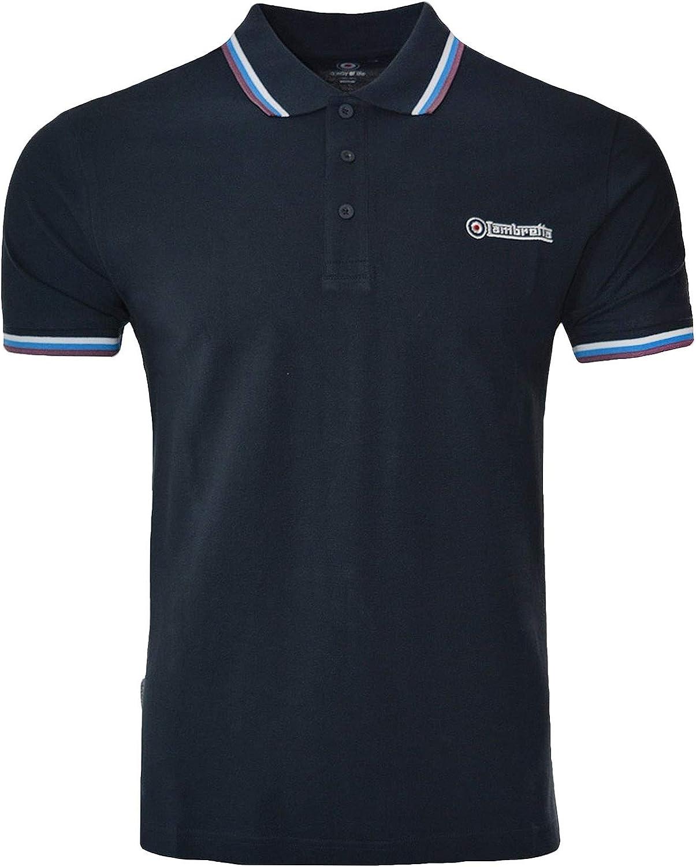 Lambretta Mens Triple Tipped Short Sleeve Polo Shirt
