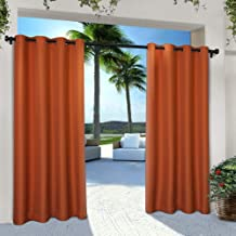 Exclusive Home Curtains Indoor/Outdoor Solid Cabana Window Curtain Panel Pair with Grommet Top, 54x108, Mecca Orange, 2 Piece
