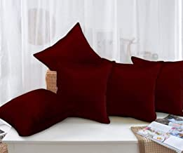 Story at Home White Premium Printed Cushion Cover set of 5 Pcs, Marroon