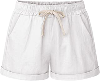 Women's Elastic Waist Casual Comfy Cotton Beach Shorts...