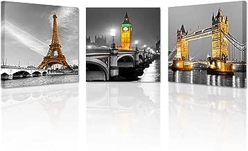 Kreative Arts - 3 Panel Paris Effiel Tower Canvas Painting Picture City Building London Bridge Big Ben Landscape Wall Art Modern Printing Ready to Hang (20x20inchx3pcs)