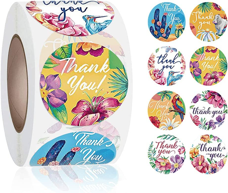 1 inch Thank You Stickers, 500 Labels for Small Business, Packaging Bags, Box, Gifts, Mailer Seal Sticker, Waterproof(Flowers)