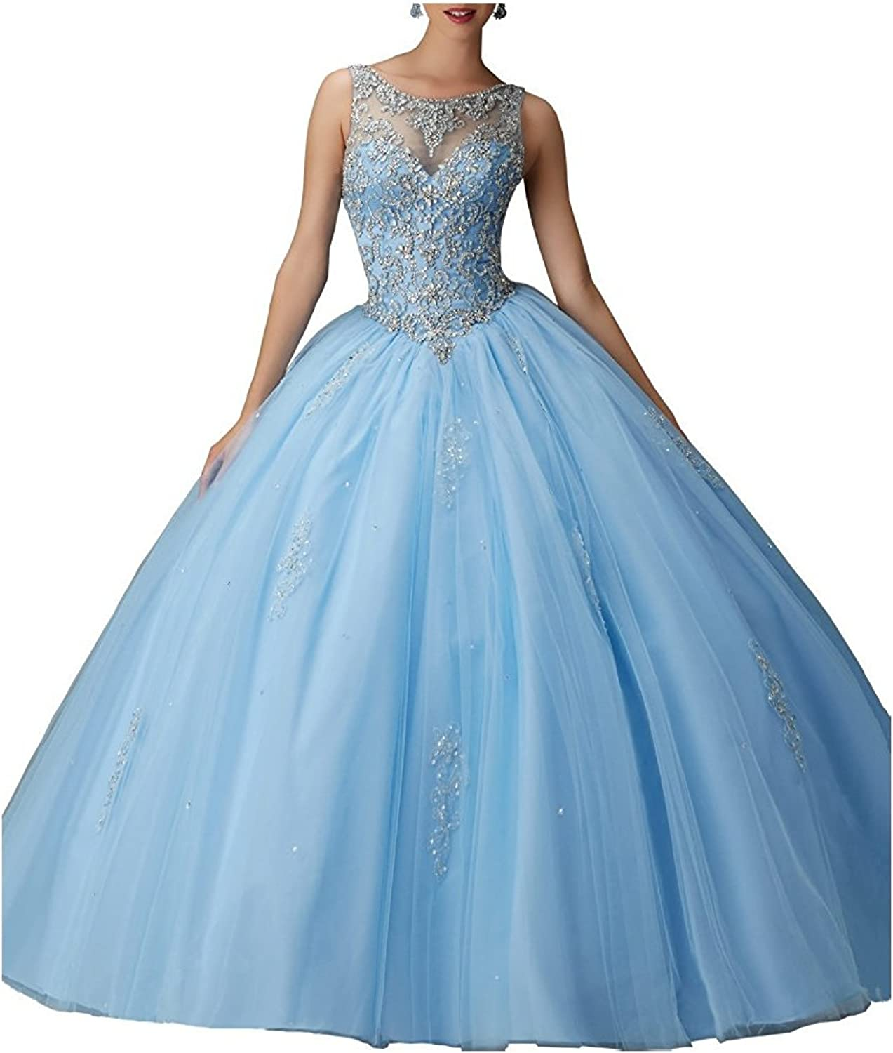 Kewl Fashion Women's Sweetheart Ball Gown Beads Prom Quinceanera Dress 2017