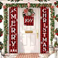 ORTIGIA Christmas Decorations 3PCS Red Buffalo Check Plaid Porch Sign Joy Xmas Banner Front Porch for Outdoor,Winter Holiday Snow Door Hanging Banners Flag for Yard Home Wall Party 12x72 inch