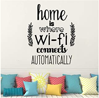 Home Decor Home is Where WiFi Connected Quote Wall Decals Living Room Vinyl Wall Stickers Family Love 3342cm