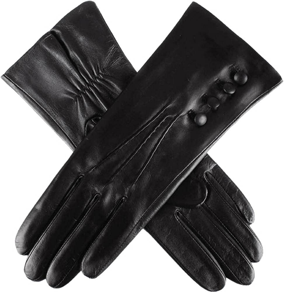Dents Womens Natalie Silk Lined Hairsheep Leather Touch Screen Gloves - Black
