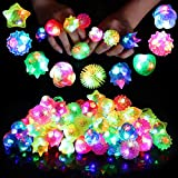 Neovoo Prizes for Kids Party Favors Light Up Rings 38 Pack FlashingLED Ring Classroom Prizes Glow in The Dark Party Supplies Jelly Novelty Play Rings Bulk Toys Birthday Celebration Gifts