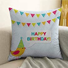 Kids Birthday Printed Custom Pillowcase Two Row Party Flag Cartoon Bird Happy Birthday Quote Image Artwork Print Decorative Sofa Hug Pillowcase W16 x L16 Inch Multicolor