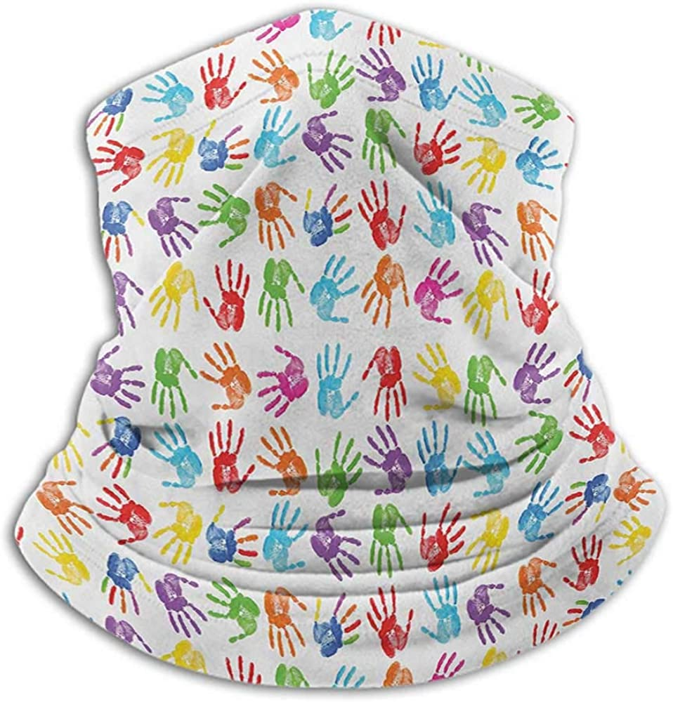 Neck Gaiter Women Colorful Sun Dust Bandanas For Fishing Motorcycling Running Human Handprint Kids Watercolor Paint Effect Open Palms Collage Art Work Print Multicolor