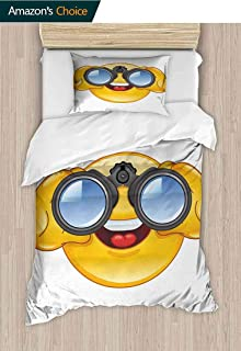 Emoji Diy Quilt Cover and Pillowcase Set, Smiley Face with a Telescope Binoculars Glasses Watching Outside Cartoon Print, Print, Decorative Quilted 2 Piece Coverlet Set with 1 Pillow Shams,