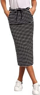 Women's Striped Drawstring Mid Waist Casual Long Pencil Skirt