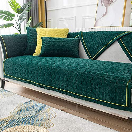HXTSWGS Cojín de Felpa para sofá, cojín Acolchado de Invierno, Funda de sofá de Tela Antideslizante, Verde Oscuro 1_70 * 210cm