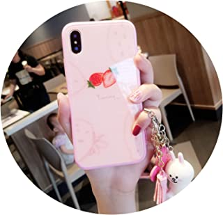 Iphone8plus Mobile Phone Shell 6 Lovely 6s Cord iPhone7 Anti Fall x Strawberry Pink Rabbit with Girl Phone case,Pink,iPhone 6Splus