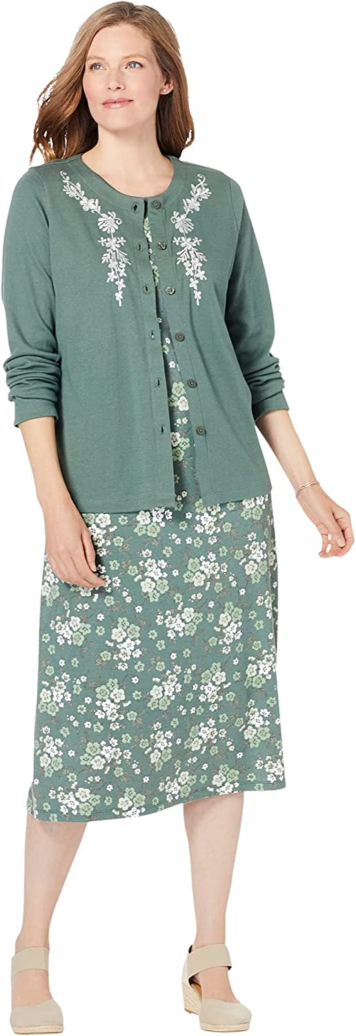 Woman Within Women's Plus Size 2-Piece Knit Jacket and Dress