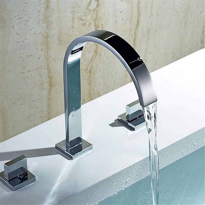 Wasserhahn Warmes und kaltes Wasser Messing Chrom Zwei Griffe Deck Montiert Badezimmer Verbreitet Wasserhahn.Badezimmer Waschbecken Waschbecken Mischbatterie