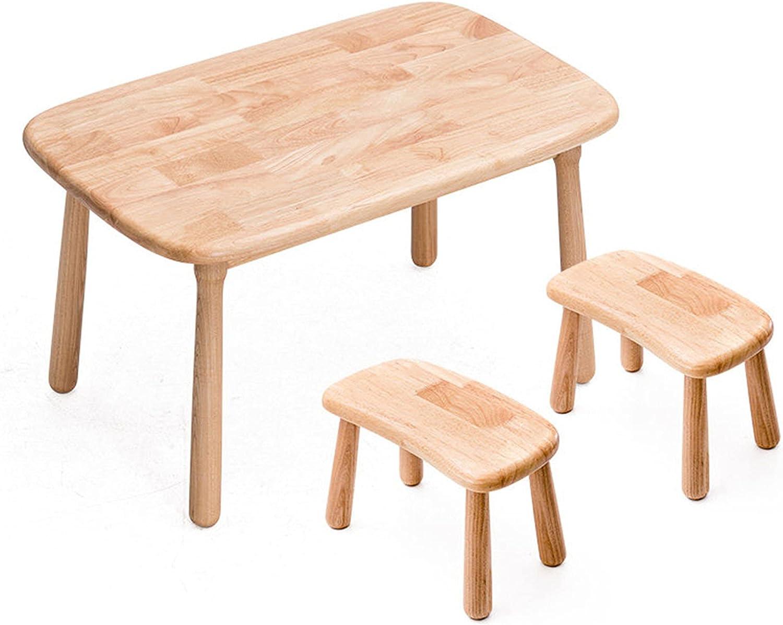 Juego de mesa y silla para niños, mesa y silla de estudio multifuncional de madera maciza para niños, 1 mesa y 2 sillas, escritorio de jardín de infantes, para leer, comer y jugar, resistente /
