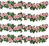 SHACOS 3 Unidades 200cm Guirnalda de Rosas de Flores Artificiales con Hojas Verdes Hiedra de Seda Plantas Colgantes para Decoración Boda Hogar Navidad Interior Partido
