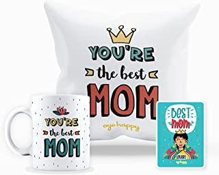 Oye Happy - Best Mom Combo (Best Mom Magnet, Mug and Cushion) - Unique Gift for Mother / Mother-in-Law on Mother's Day / B...