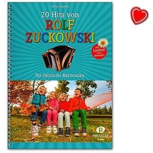20 Hits von Rolf Zuckowski für Steirische Harmonika mit Liedtexten zum Mitsingen- Songbook mit bunter herzförmiger Notenklammer – JP6631-9783940013507