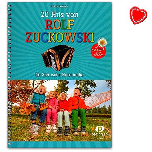 20 Hits von Rolf Zuckowski für Steirische Harmonika mit Liedtexten zum Mitsingen- Songbook mit bunter herzförmiger Notenklammer - JP6631-9783940013507