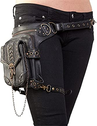 5edf5028234 GEANBAYE Women Fashion Chain Bag Steampunk Retro Motorcycle Club Shoulder  Waist Bag Black