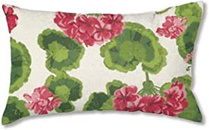 Plow & Hearth 35674-13 Weather-Resistant Outdoor Classic Lumbar Pillow, Geranium