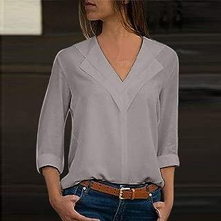 FidgetGear Women Lady Chiffon Long Sleeve Blouse Summer Casual V Neck Loose Tops T Shirt US Grey 5XL