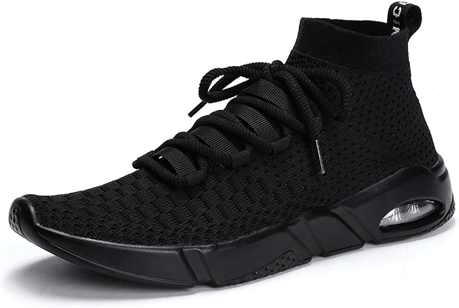 ZHRUI Mens Sneakers Casual shoes Running shoes High Top Knit Breathable Slip On Lightweight Socks shoes Mens (color   Black, Size   12=46 EU)