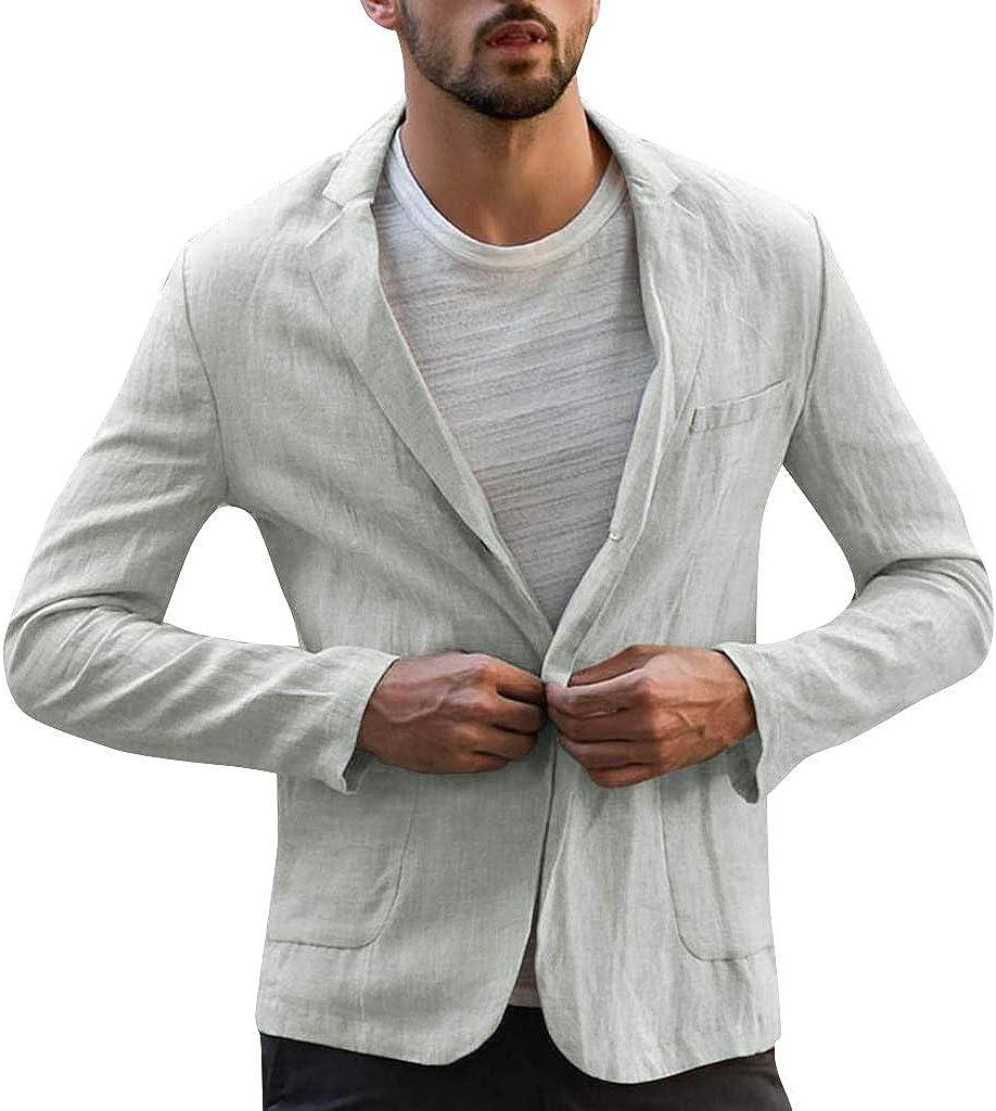 WUAI Mens Casual Linen Tailored Blazer Long Sleeve One Button Lightweight Business Work Suit Jacket Sport Coat