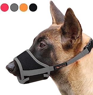 Heele Dog Muzzle Nylon Soft Muzzle Anti-Biting Barking Secure,Mesh Breathable Pets Mouth Cover for Small Medium Large Dogs...