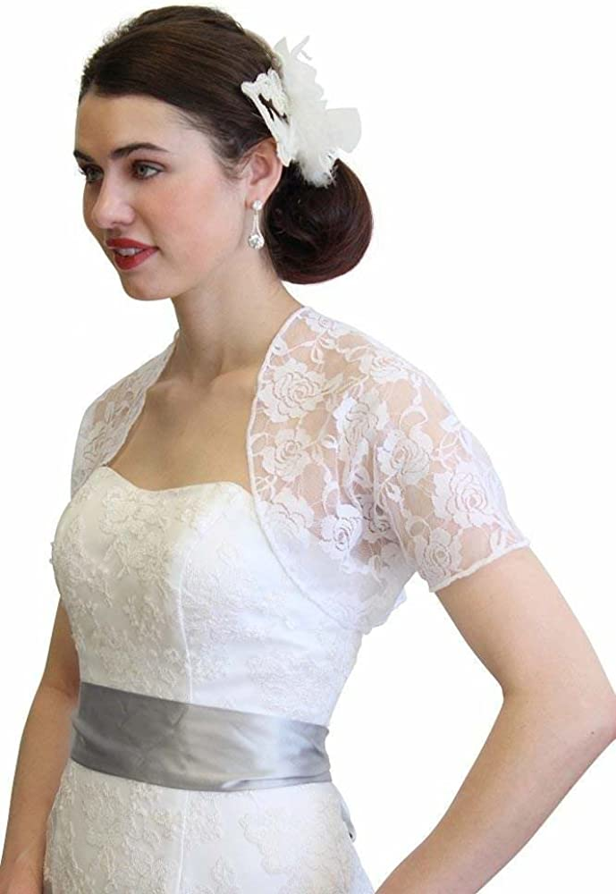 Tion Design Womens Lace Bolero Jacket with Short Sleeve